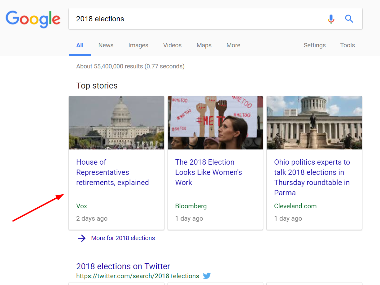 google results for 2018 elections