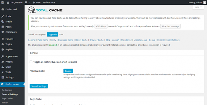 W3 Total Cache - increase page speed by reducing page download