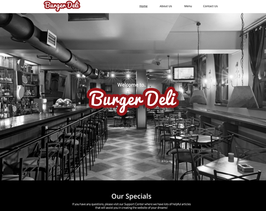 Burger Deli website